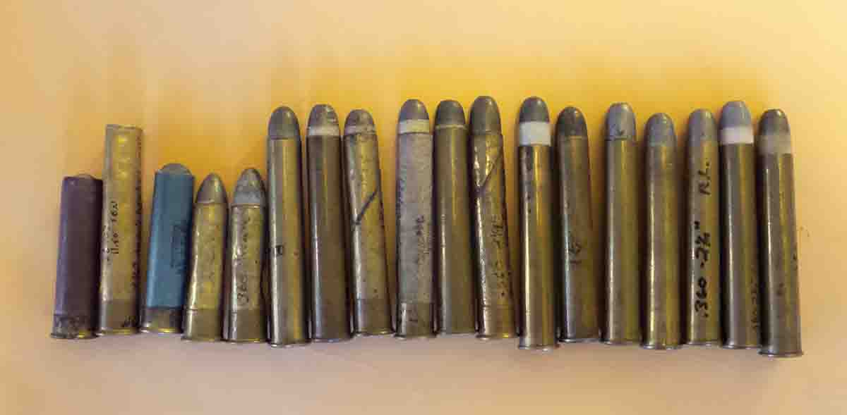 A variety of .360 and .380 black-powder cartridges.