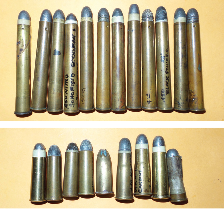 The .450 Black Powder Express evolved from short handgun and military cases to 3¼ inches and was the most popular sporting round in Africa before the introduction of nitro powders.