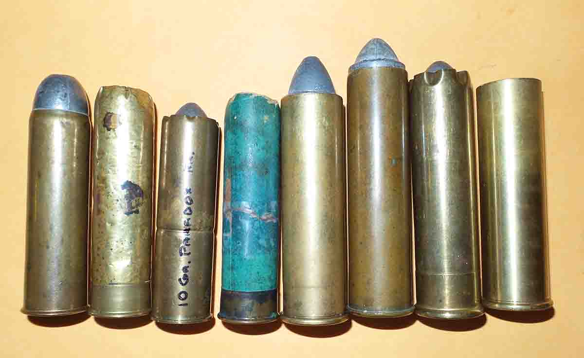 For truly big game, the 10- and 8-bores were the most common, lighter and easier to carry than the 4-bore. Four 10-bores to the left and four 8-bores to the right.