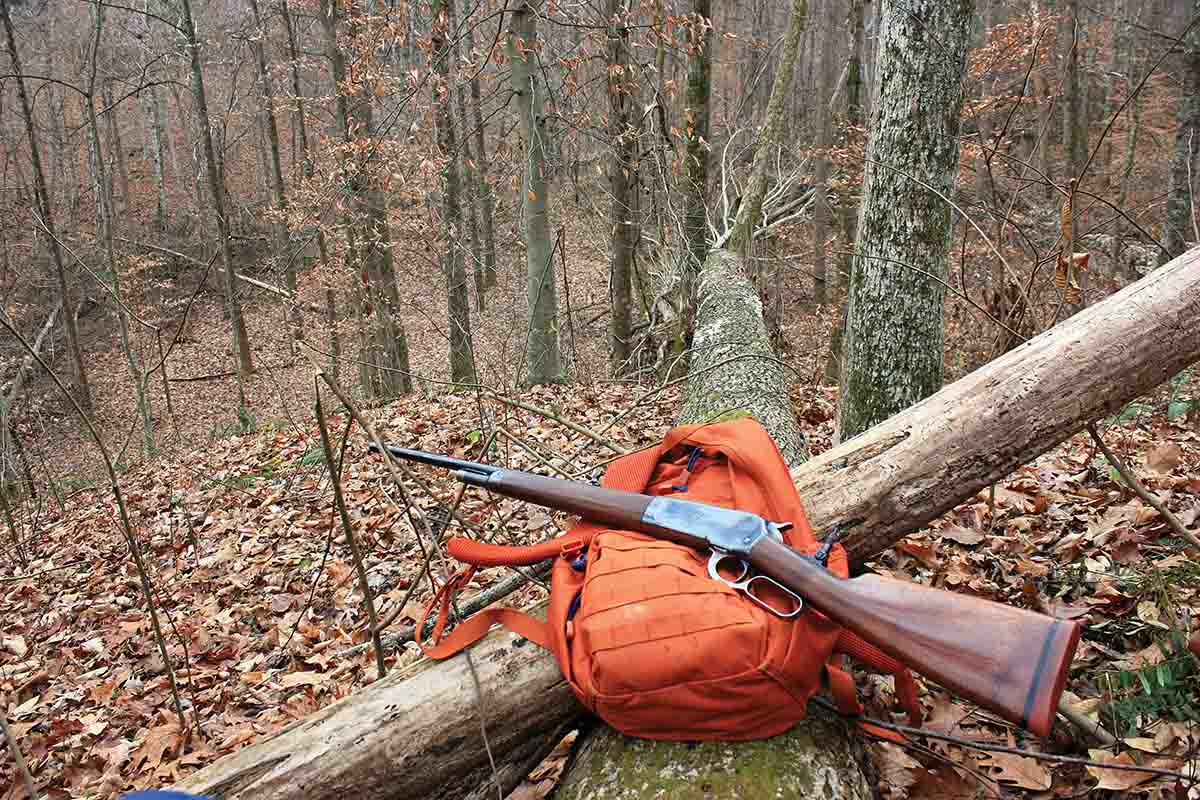 Much of the land owned by Harvey and his wife in Kentucky is heavily timbered. It is a perfect area for close-range hunting with black powder .45-70 loads.