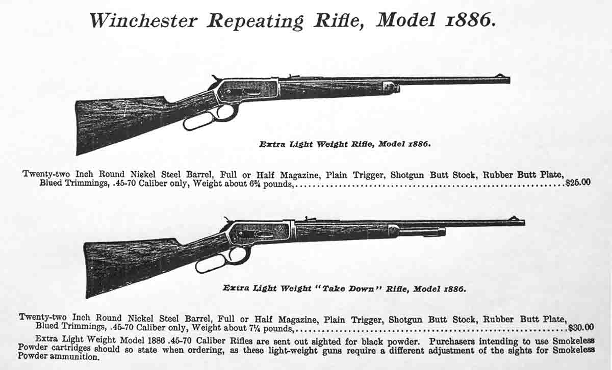 "This illustration was taken from a 1903 Winchester catalog, and it advertised the Extra Light Weight ""Take Down"" Rifle – similar to the author's rifle. Notice the price!"