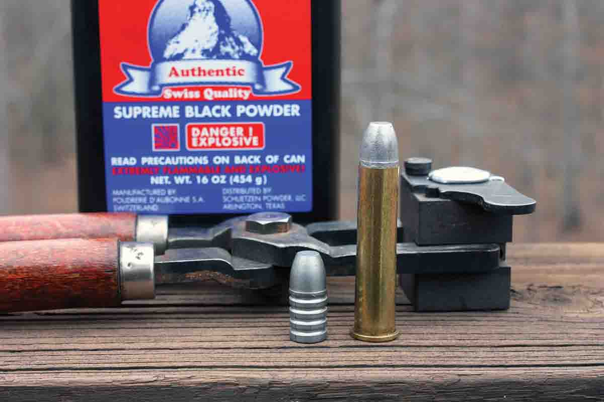 The author's .45-70 load used a 416-grain Lyman No. 457193 made with 1:16 alloy, 67 grains of Swiss 1½ Fg black powder, a Winchester case, a CCI 250 primer, homemade lube and card wad.