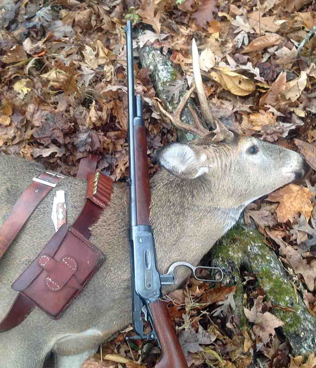 This young whitetail buck was taken with a Model 1886 .45-70 and black powder loads on the next-to-last day of the 2017 Kentucky deer season.
