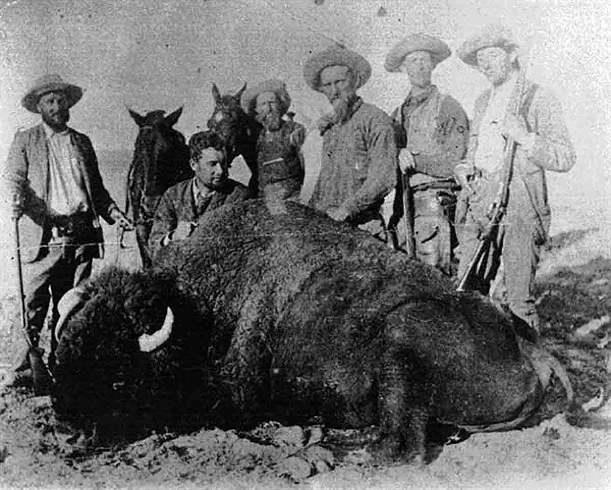 Seton-Karr on a buffalo hunt with (left to right): Lord George Travillion, Lord Fell, Frank and Boney Earnest, Charles Cummings and Lord Napier. Seton-Karr is behind the camera.