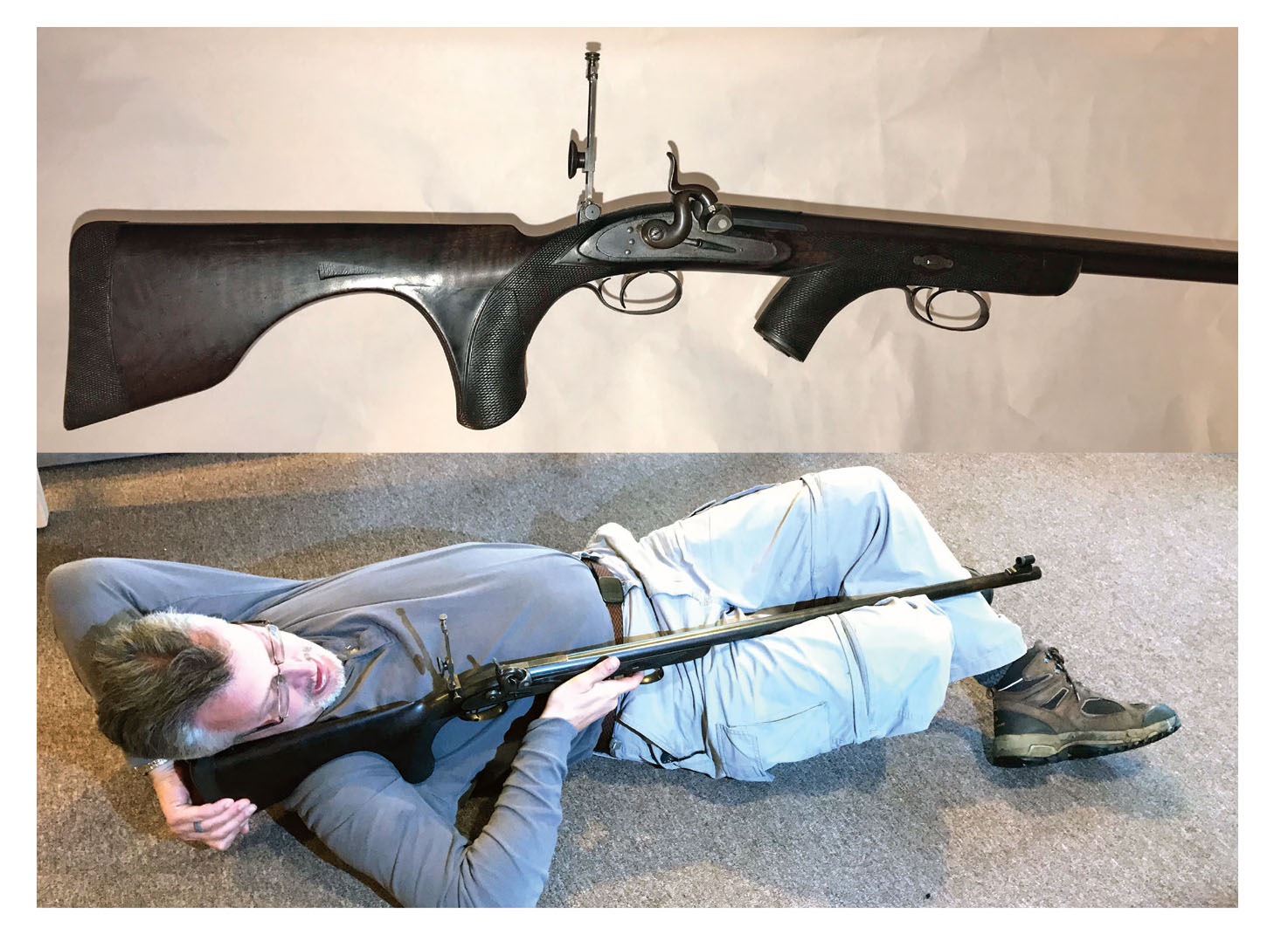 Alexander Henry two-position rifle - they shot body support only. No kidding . . .