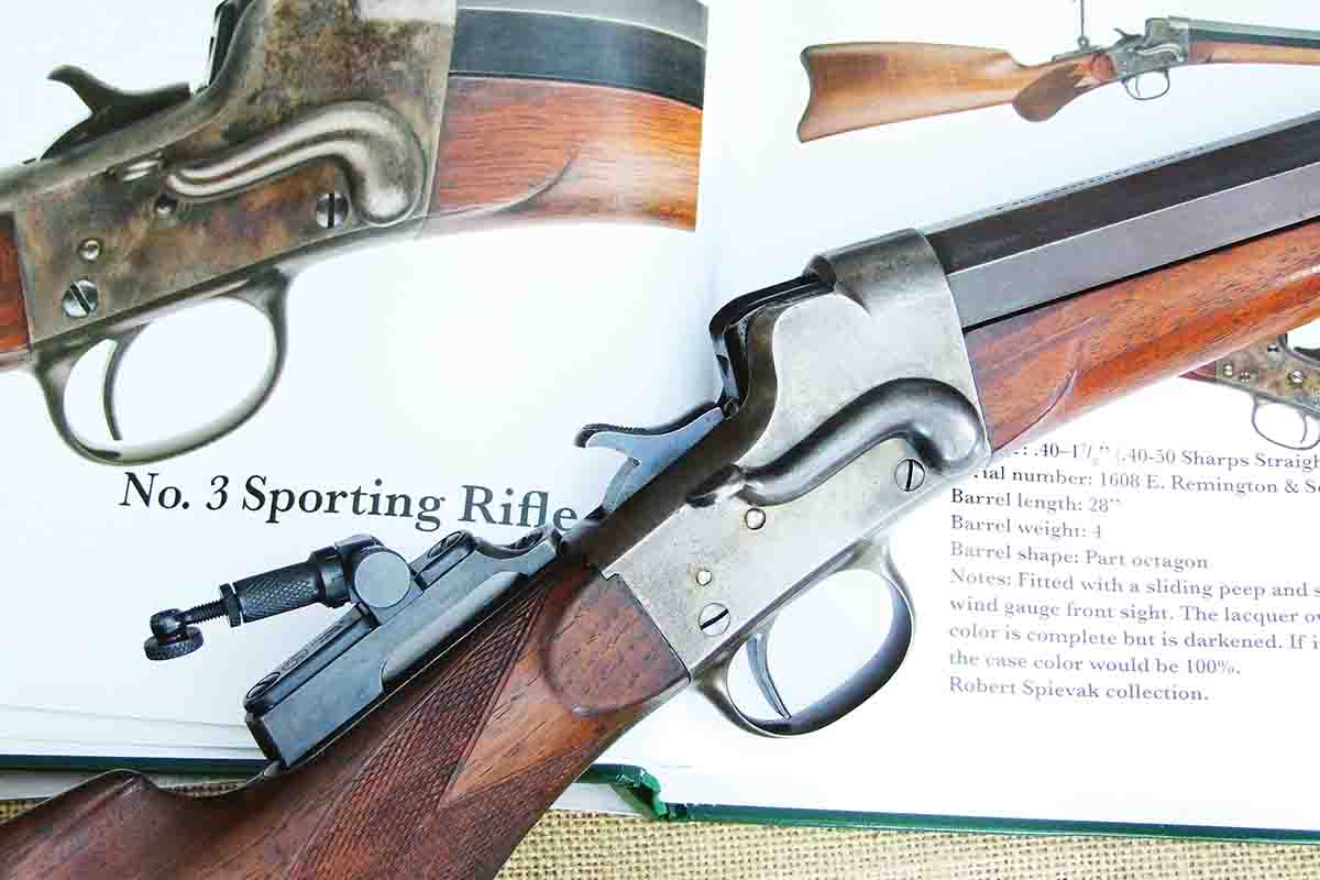 Remington Hepburn No. 3 Sporting in .38-50 Remington atop Tom Rowe's excellent book, Remington's No. 3 Hepburn.