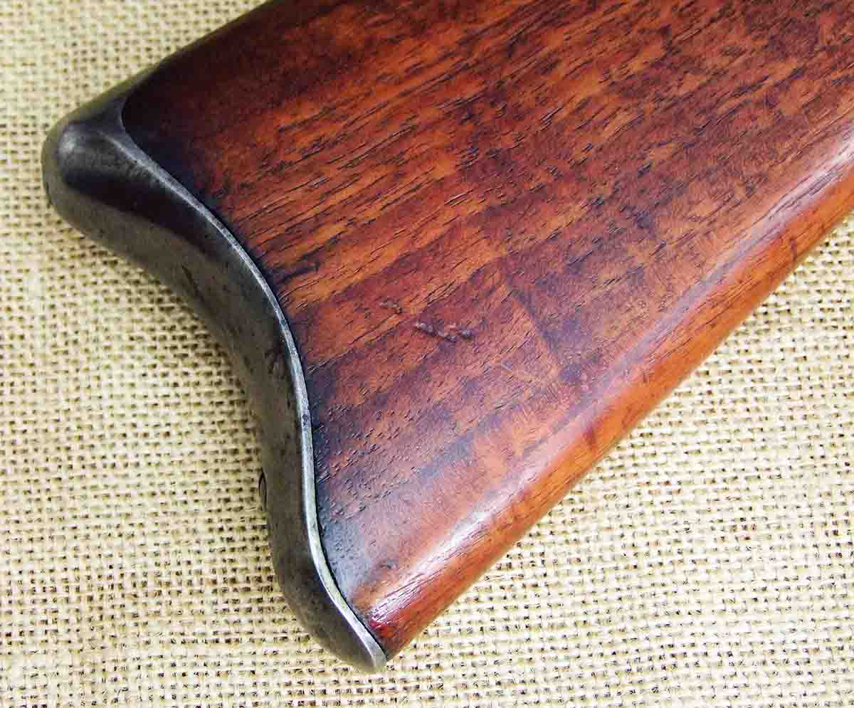 The curved buttplate on this Remington Sporting rifle is unique.