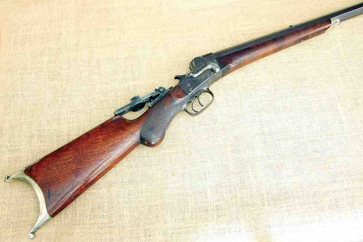 A .38-50 Match Grade A Remington Hepburn with double-set triggers (above) and detailed specifications (below).