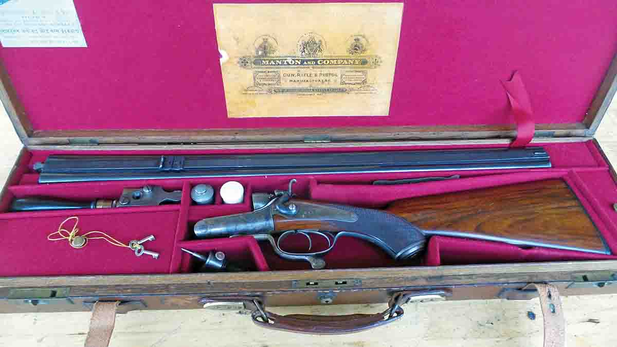 A .577 Manton rifle, chambered for the 3-inch case and regulated for a 590-grain bullet and 6 drams of powder. This rifle was retailed in India to a military captain.