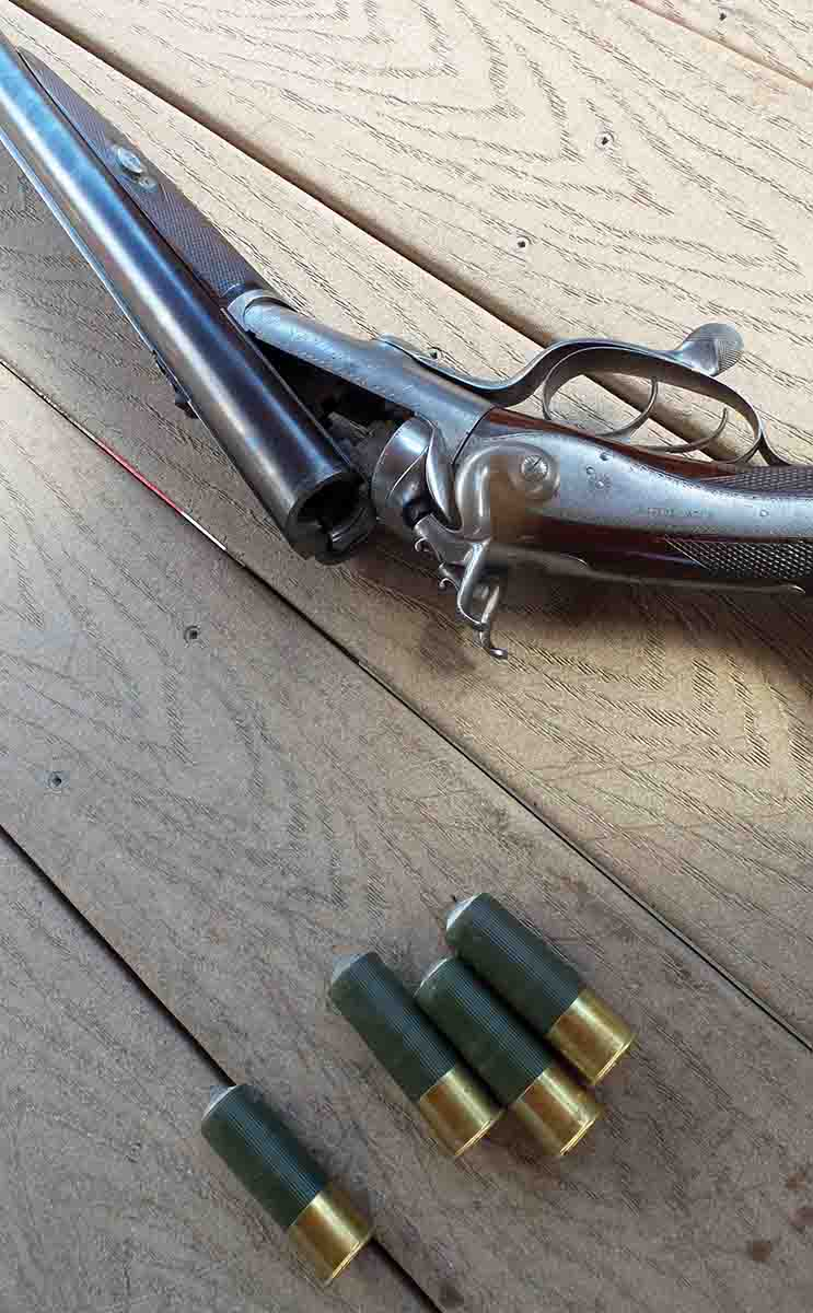 Rob's 10-bore Tolley double rifle regulated for a ball and 5 drams of powder.
