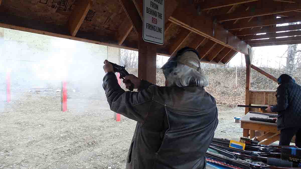 Dr. Ron shooting the Lang .577 Snider howdah pistol during the 2018 Double Rifle Shoot at the Matanuska Valley Shooting Rangnear Palmer, Alaska. The load used was a 500-grain .585 bullet and 70 grains of FFg GOEX.