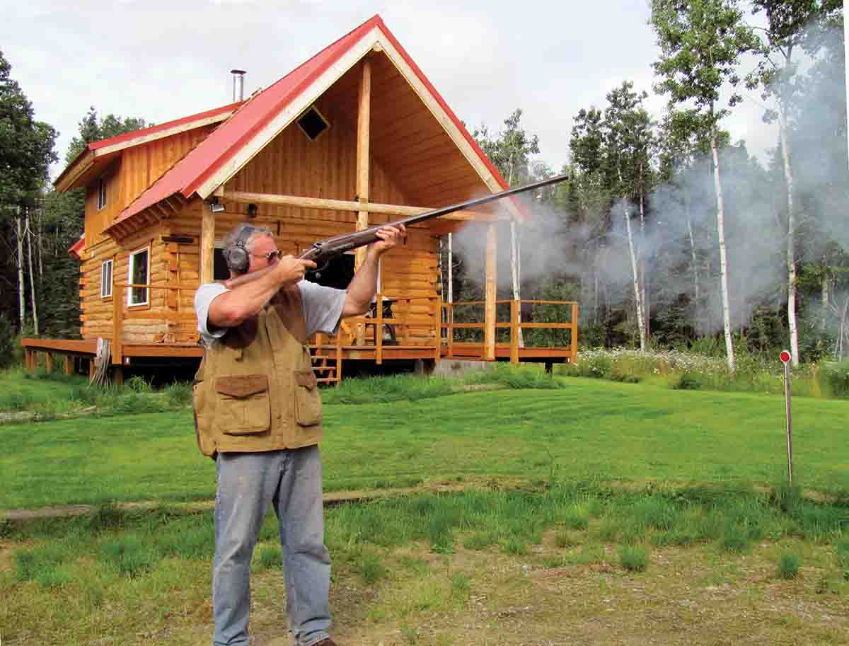 Cal firing a 4-bore single shotgun during one of the shoots held at his home.