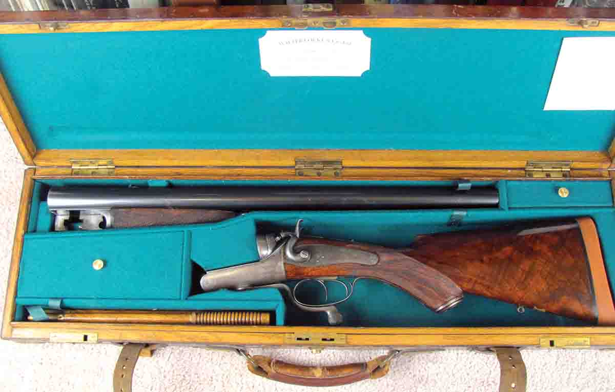 A stunning cased 8-bore double rifle by Walter Locke, one of the five major retailers of sporting goods in India.