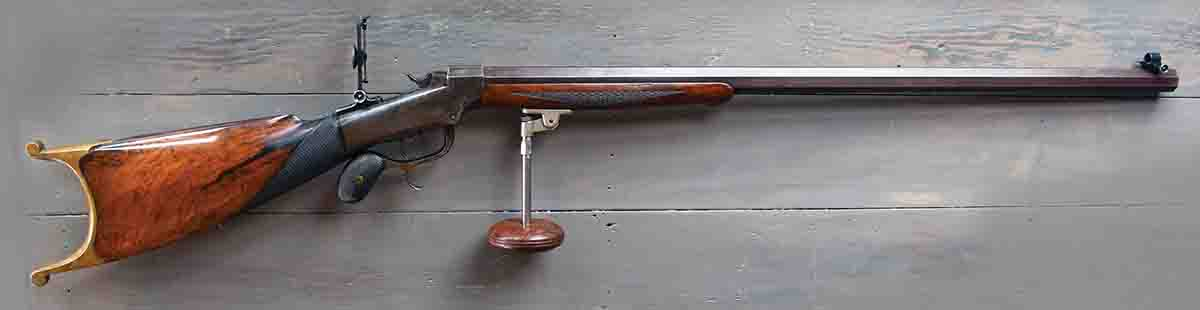 .32-40 Ballard-Schoyen No. 6 Schuetzen rifle with Pope palm rest. The rifle has a 32-inch, four-weight barrel and weighs 15 pounds. On the palm rest it weighs 17 pounds.