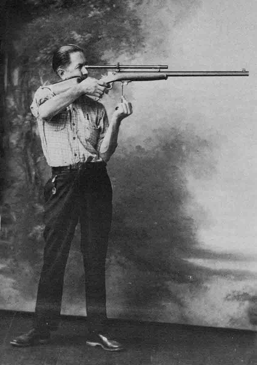 Harvey Donaldson, noted rifleman and author, demonstrating the Schuetzen offhand position using the palm rest. From Yours Truly, Harvey Donaldson, Wolfe Publishing Company.