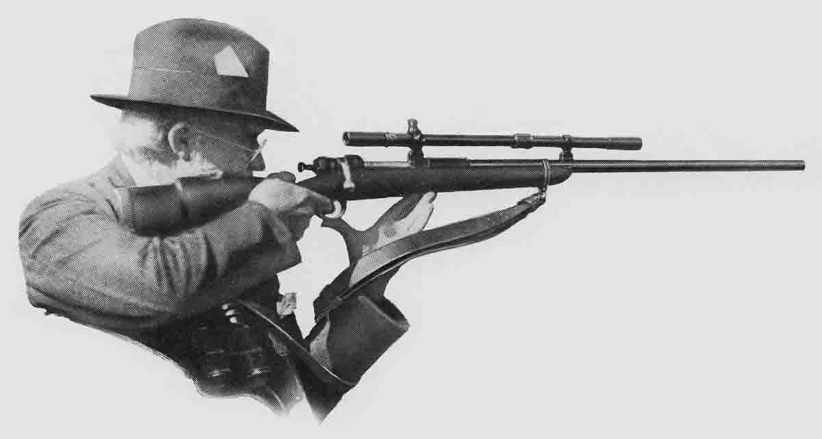 Harry Pope in the offhand non-palm rest position with the 1903 Springfield rifle.