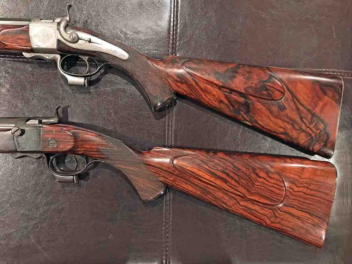 "A pair of Alexander Henry best quality, breech loading, single shot rifles. Although the left-handed No. 3664 rifle made in 1875 has a flat lock and octagonal barrel, the Henry records still describe it as ""best quality."" Rifle No. 6070, made in 1886, is also defined as best quality, yet it has a cranked lock and a round barrel – typical of what is found on most larger-framed best quality Henry single shots. It is my belief that the only thing that differentiates Henry's best quality is the choice of wood and the amount of engraving."