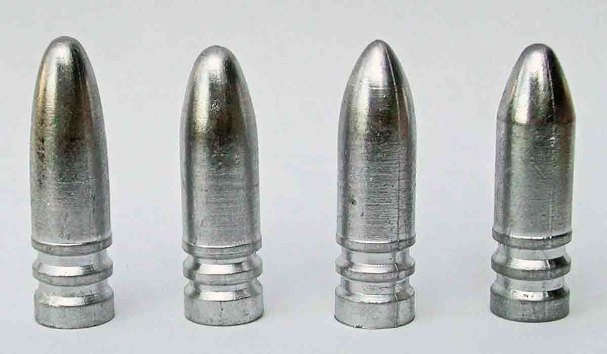 "Cast bullets shown in firing order (left to right): Dan Theodore elliptical-nose bullet, 417 grains; New Postel, 417 grains; Pointed ""Turkey Killer,"" 421 grains; ""No Slump,"" 420 grains."