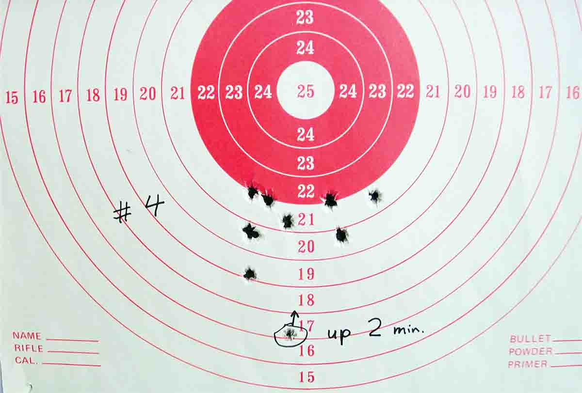 "This 10-shot group was produced with the ""No Slump"" bullet."