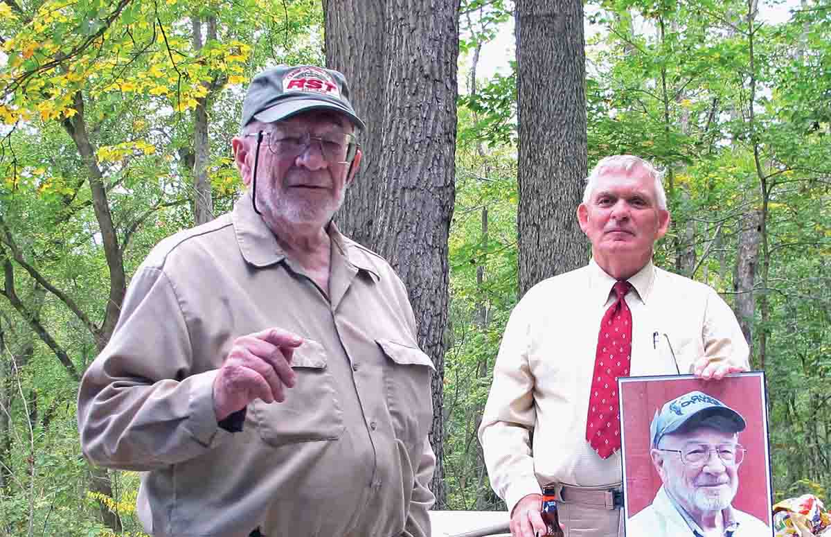 Present at the dedication on October 7, 2017, were shoot founder, Bob Woodfill (right) and Don Kettelkamp, the African hunter for who the competition was named.