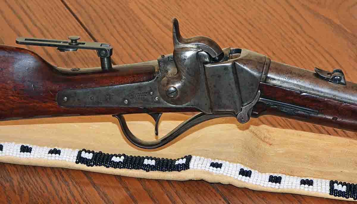 Action of the test gun, a Model 1852 Sharps carbine, serial number 5737. This model incorporated a totally redesigned receiver and the new Sharps primer mechanism. Most people preferred using separate musket caps, because the Sharps primer system had not yet been perfected and was not totally reliable.