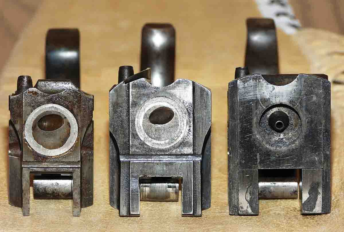 The evolution of Sharps breechblocks over time, from left to right: The Model 1851, Model 1852, and the New Model 1859. The platinum rings on the first two only help with gas erosion of the block, and they do not help with block-to-barrel tightness, like the gas plate on the New Model 1859.