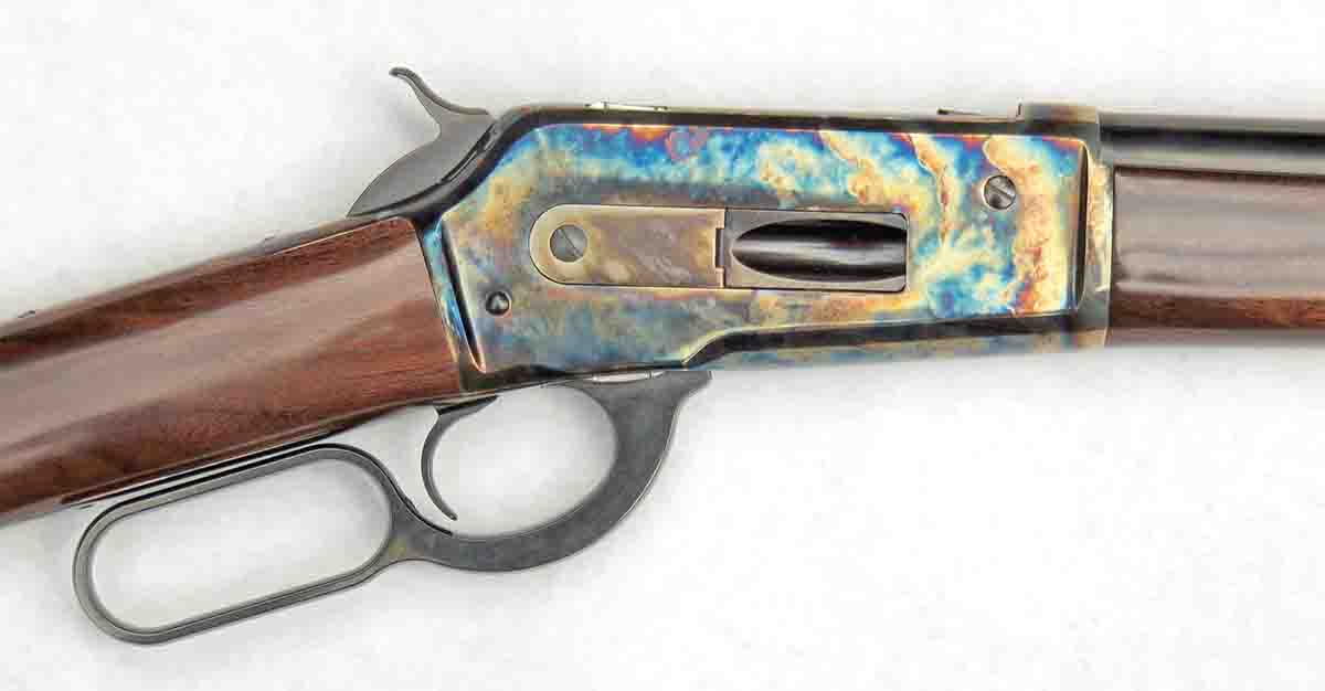 Color-case hardened receiver of the 1886 Sporting Classic.