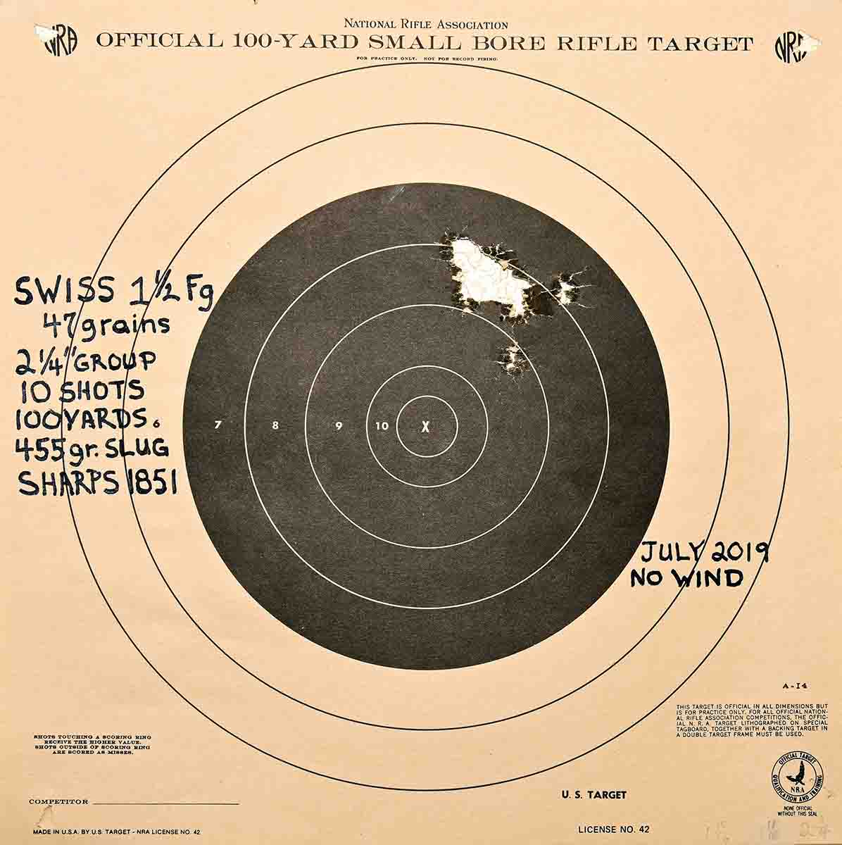 Swiss was used for this spectacular ten-shot carbine group. This is definitely the best powder for this gun.