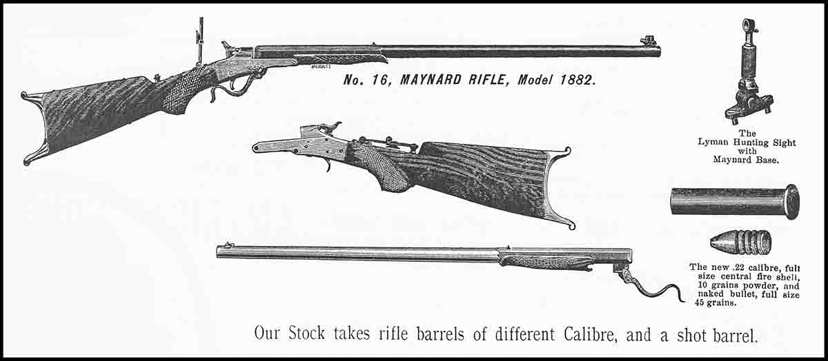 June, 1885 Massachusetts Arms Co. ad for the Maynard No. 16 rifle, chambered for the .22-10-45 Maynard cartridge.