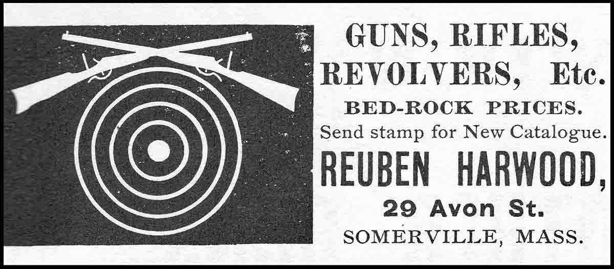 Reuben Harwood's ad from the March 21st, 1889 issue of Shooting and Fishing magazine.