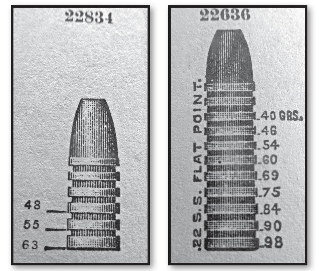 Ideal catalog cut of the Harwood Hornet bullet 22834 in 48, 55 and 63 grains weight. Catalog cut of Ideal 22636, which offered the 75-grain weight.