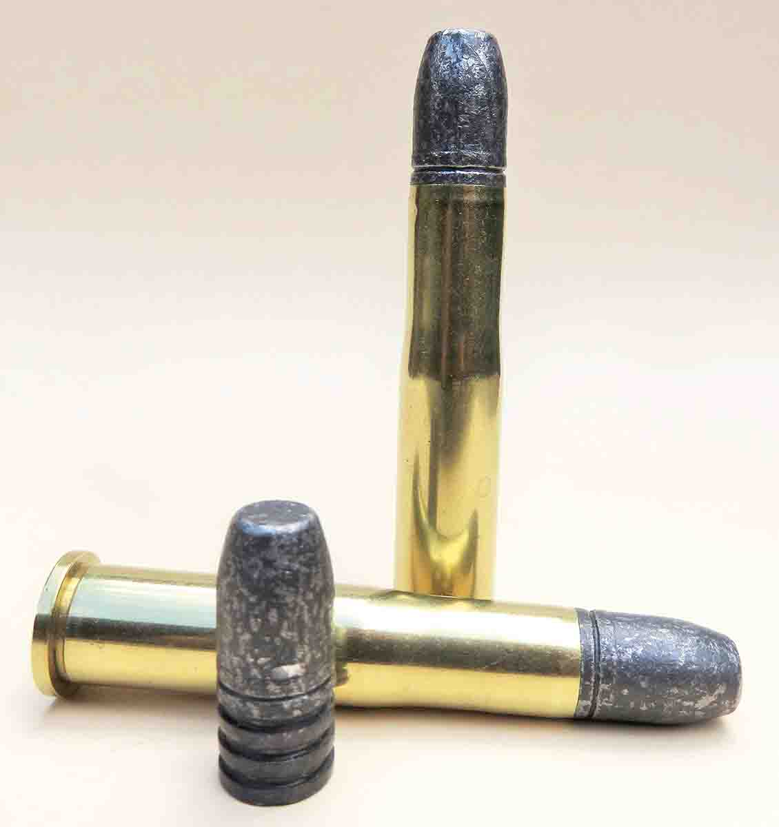 Coated lead bullets are used, weighing just under 400 grains. Meat-in-the-pot accuracy displayed on the first target.