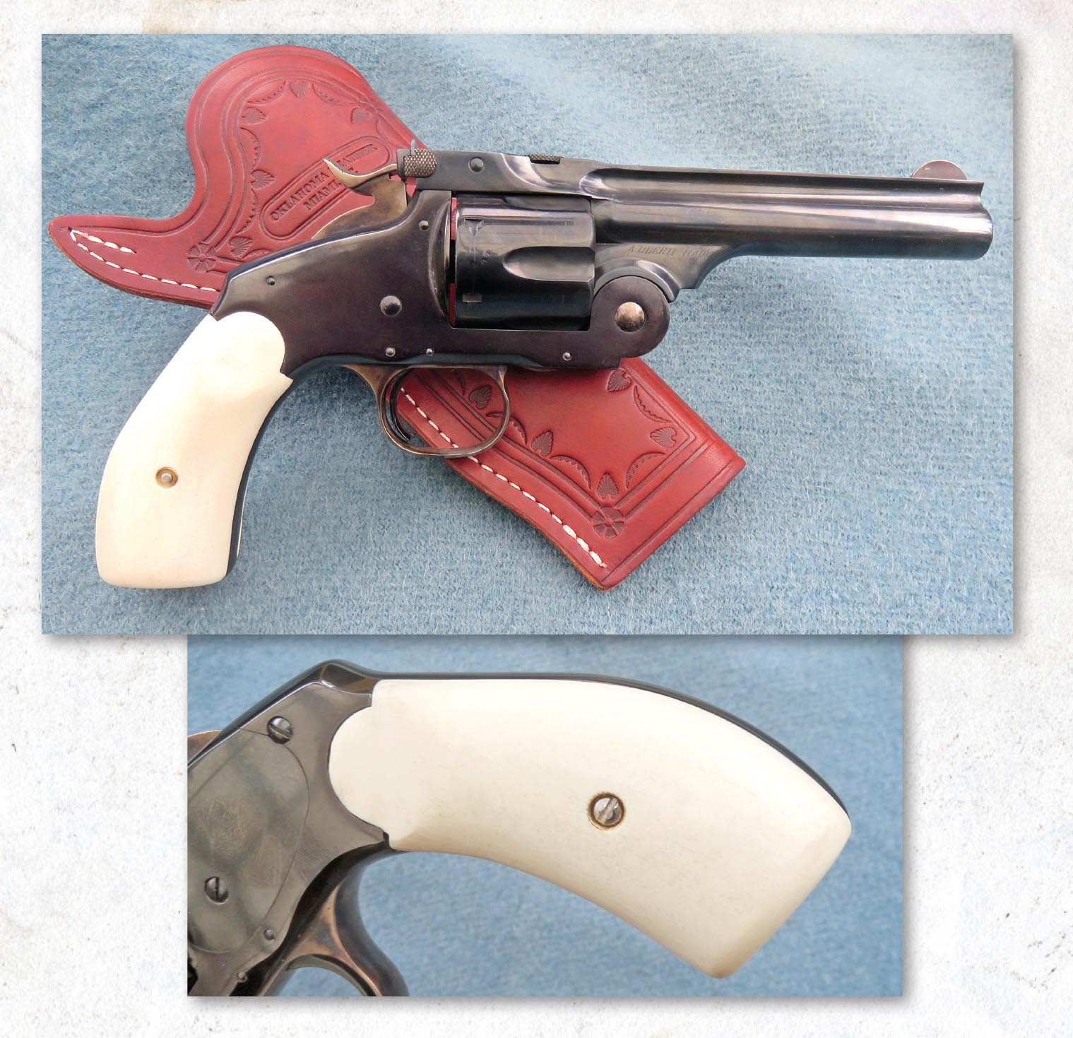 "Here is the Laramie revolver, fitted with its ""ivory"" Gripmaker grips."
