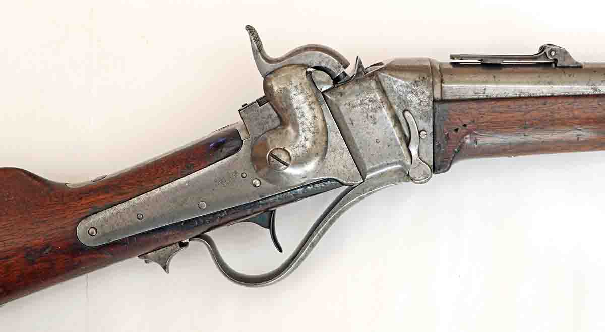 Receiver of the test gun, serial number 14,737. The slant of the breechblock can be clearly seen. This model used either the Sharps primers, or standard musket caps.
