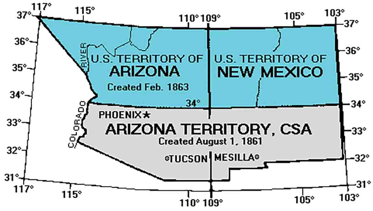 The Confederate Territory of Arizona from 1861 until 1863.