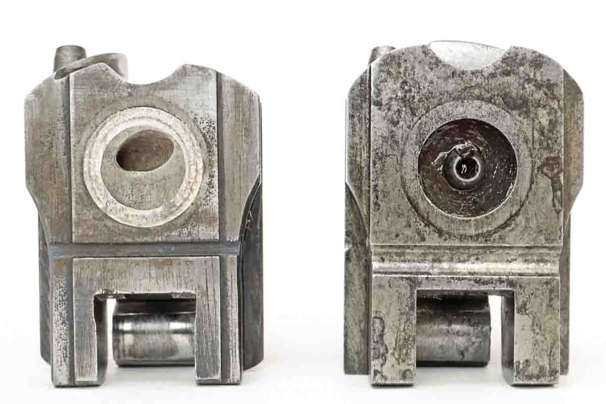 The front of the breechblock on the left has the platinum ring, which was the first type of breechblock used on this model. The breechblock on the right shows the steel ring/washer where the platinum used to be, as well as the Conant recessed cavity with the protruding flash channel cone coming up out of the center. This was the last type of block used for the Model 1853.