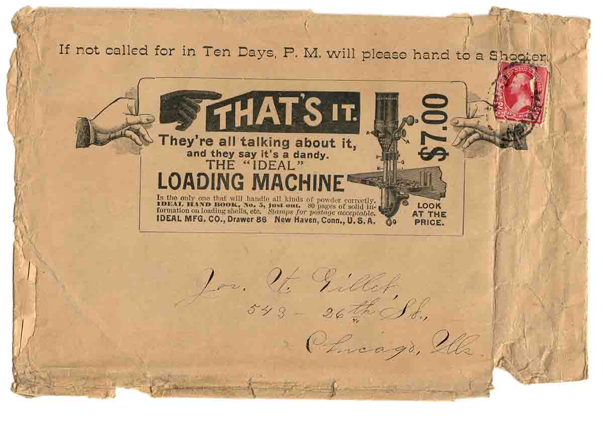 Mailer for Ideal Hand Book #5 advertising the Ideal Loading Machine, 1894.