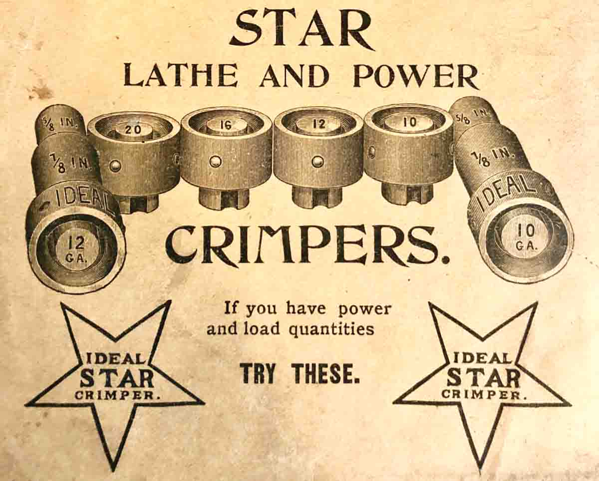 Advertisement from the back of the Ideal Hand Book #7 for the Star (#3) Lathe Crimper.