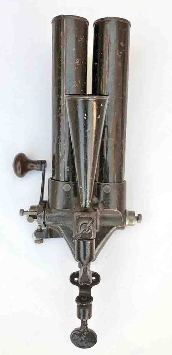 #4 Universal Powder Measure. Rear view showing the third powder hopper.