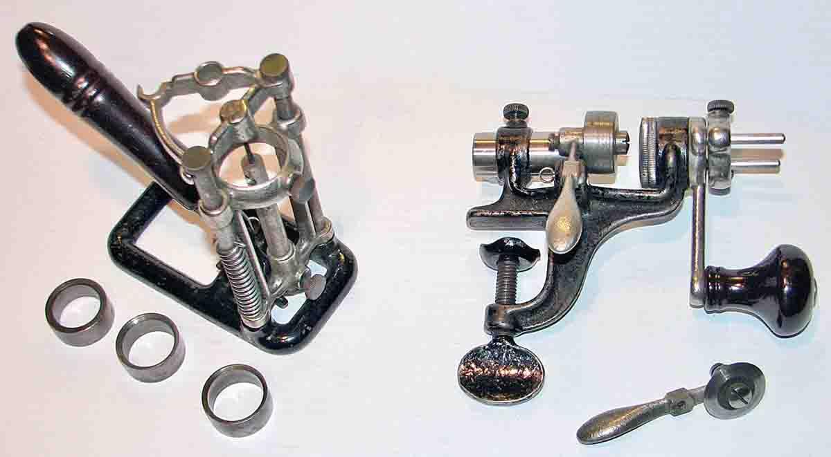 Straightline Re & Decapper on left with shell bushings for different gauges. Shell Trimmer on the right – note the ironing attachment installed.
