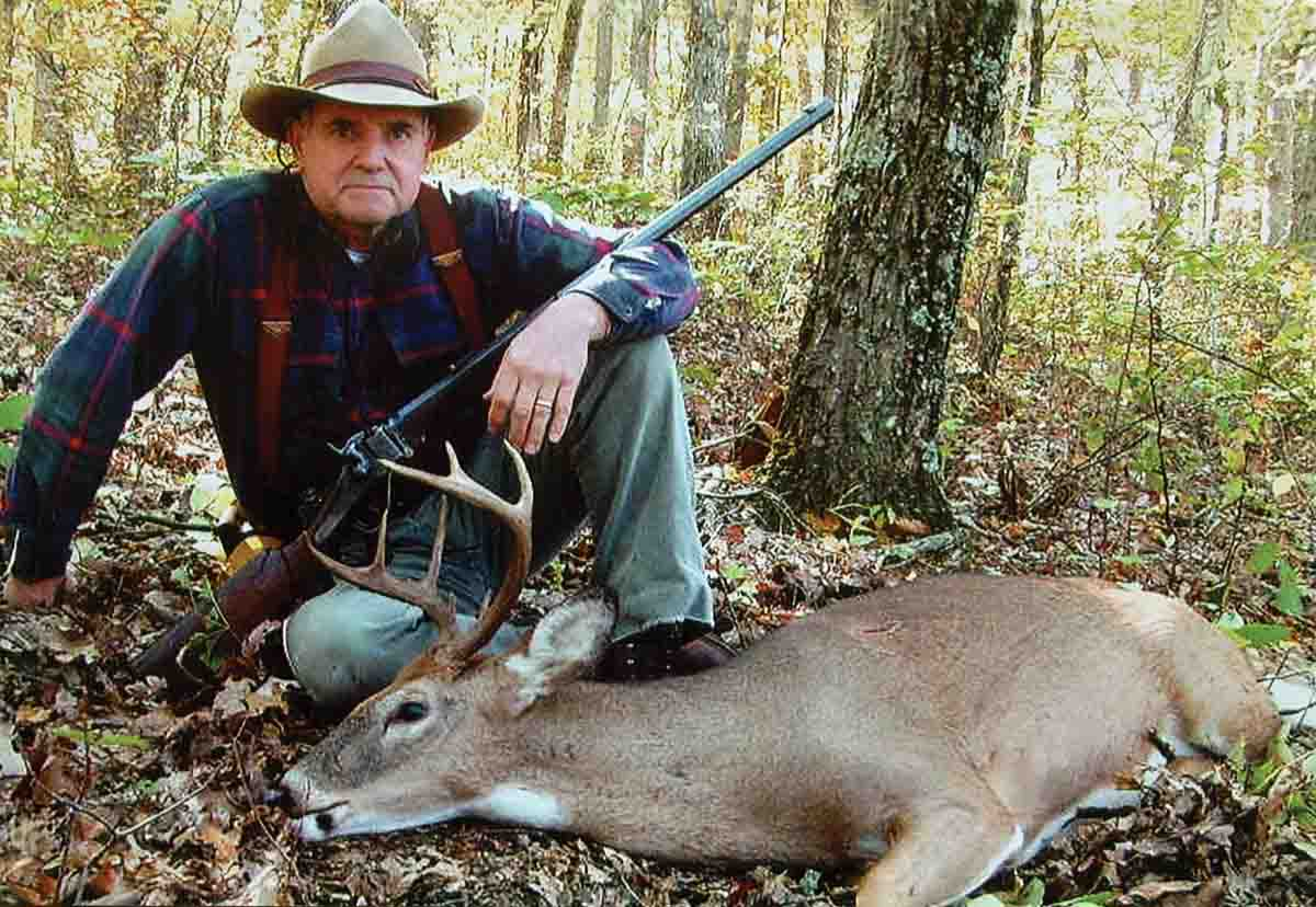 The old Farmingdale .45-110 Sharps has harvested its fair share of big game. This Kentucky whitetail was shot at 50 yards with Harvey's basic hunting load using the Lyman 457121 flatnose bullet.