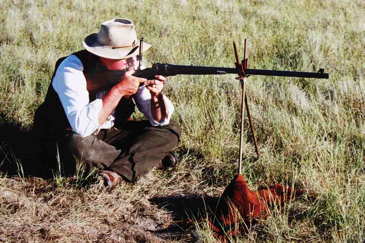 Harvey with his .45-110 Sharps at the Quigley Match in 1997.