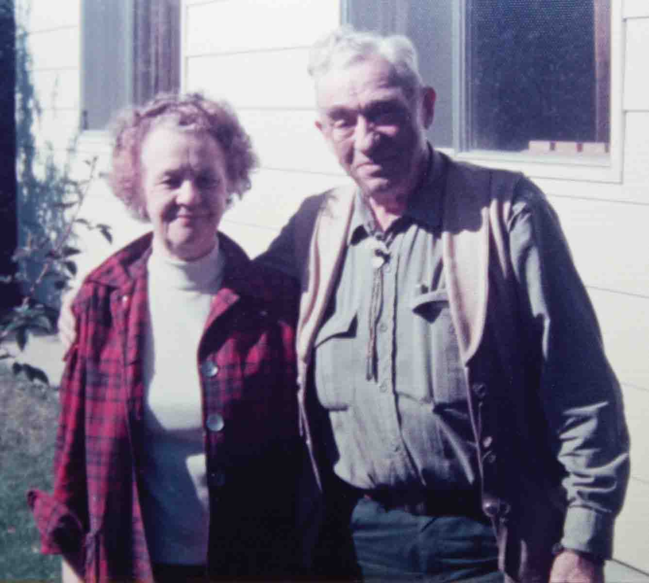 Elmer Keith and his wife Lorraine posed for this photo in 1975, during Harvey's first visit to their home in Salmon, Idaho.