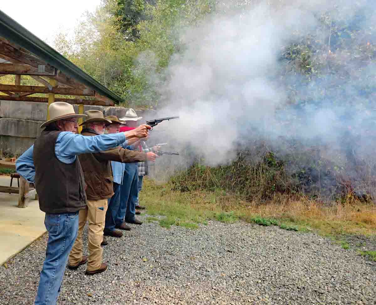Some of the boys making smoke with their .44s.