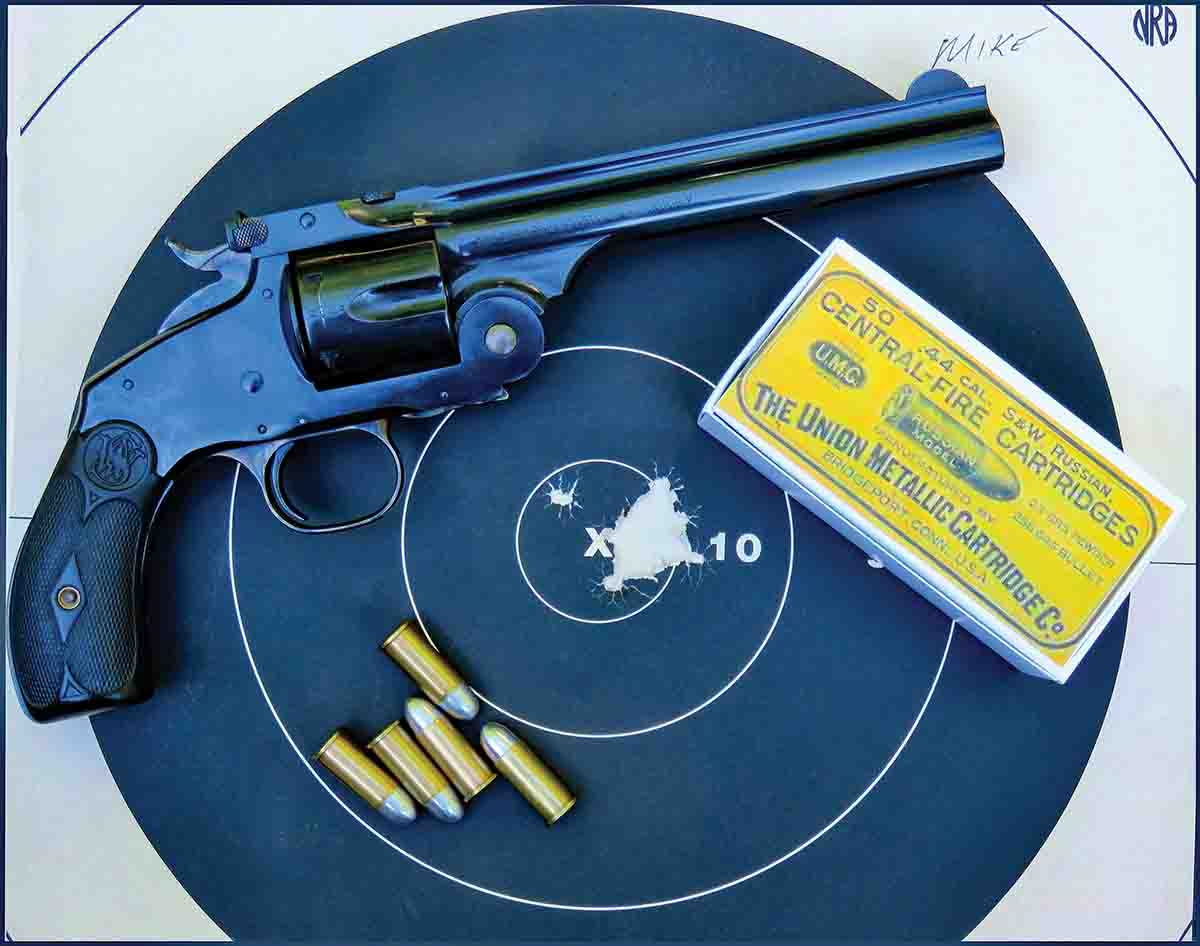 Here's Mike's best target with the .44 Russian. Shot in competition, 10 shots with two-handhold at 30 feet.