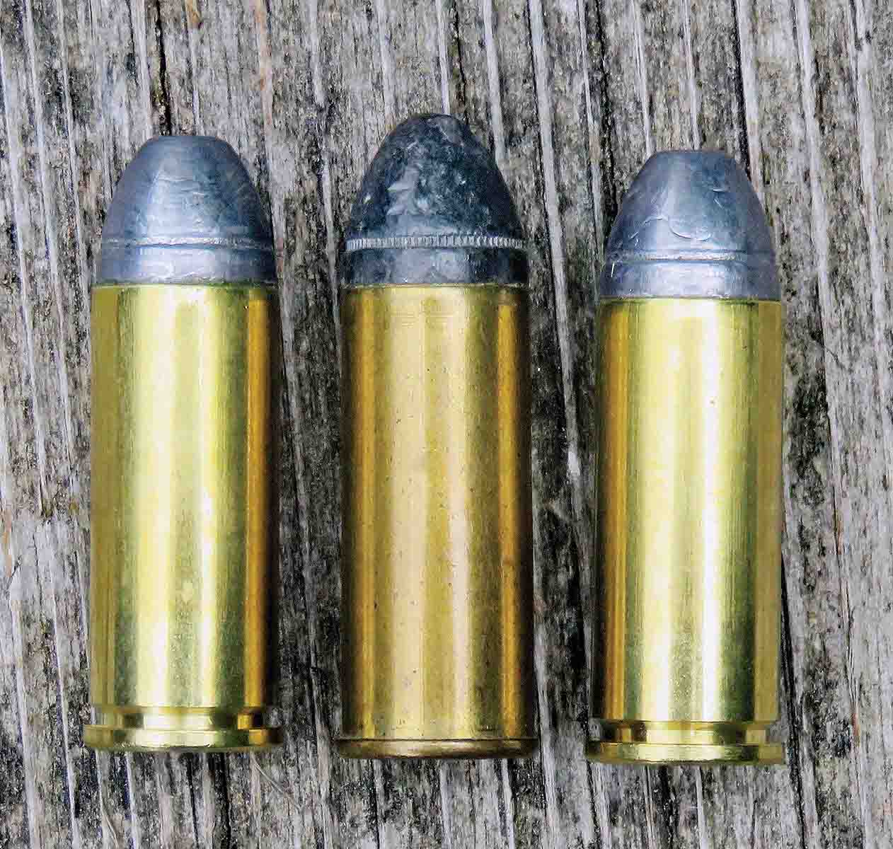 "Two ""modern"" .44 Colt loads with an old original load by U.S. Cartridge Company in between them."
