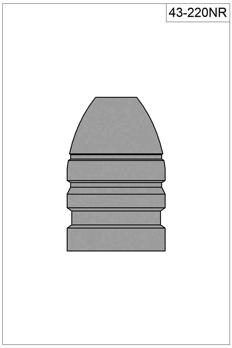 A drawing courtesy of Accurate Molds for bullet number 43-220NR, showing the ring around the bullet's nose. 10 shots with Mike's .44 Colt by Cimarron Firearms shows a score of 100 with 5Xs.