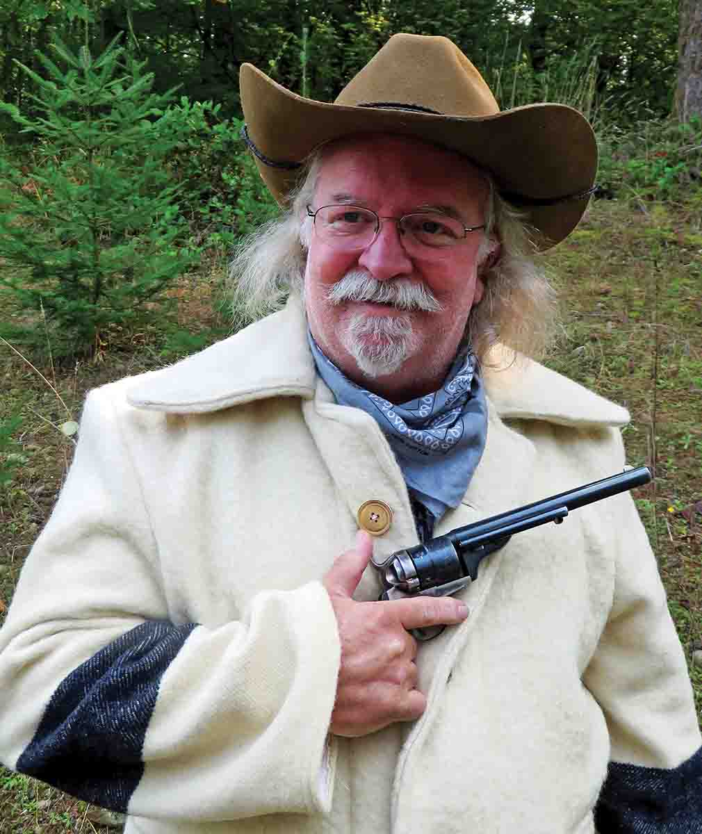 Jerry Mayo with his 8-inch barreled Richards-Mason replica in .44 Colt.