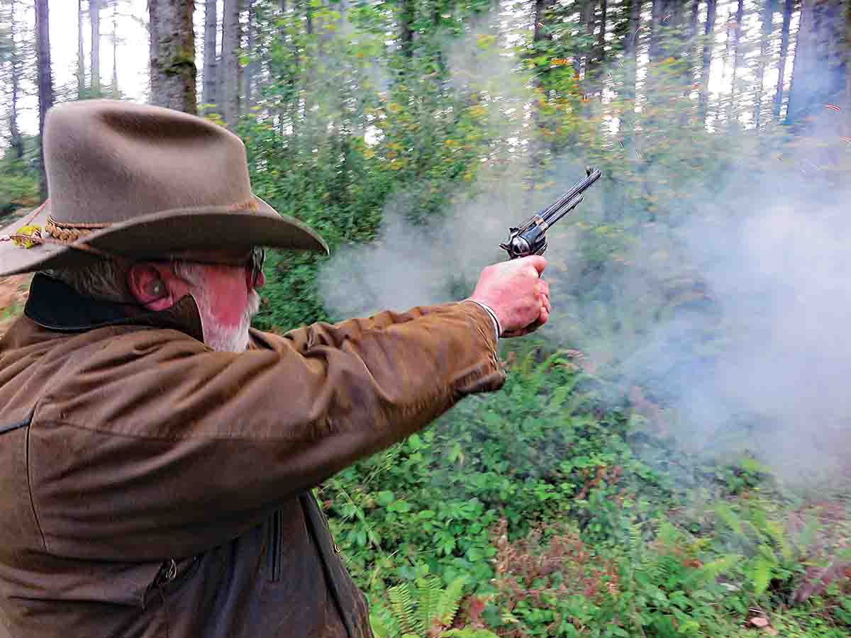 A full .44/40 load is fired by Allen Cunniff in his Flattop Model by Uberti from Dixie Gun Works.