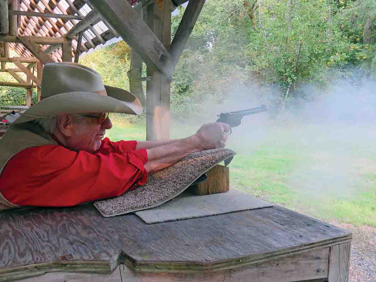Mike is getting his .44 Russian dirty again, shooting from the bench while chronographing black-powder loads.